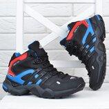 Термо кроссовки кожаные Adidas Gore Tex Terrex мембранные чёрные с синим и опанжевым