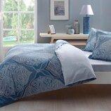 Двуспальный евро комплект TAC Yasmin Turqoise Сатин постель синяя