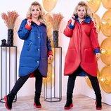 Стильная женская куртка-пальто в батальных размерах 1153 Двухсторонняя Фрак Капюшон в расцветках