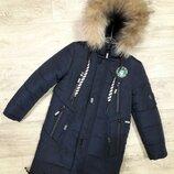 Шикарная удлиненная куртка для парней с натуральным мехом