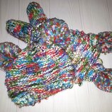 Вязаный комплект из шапки, шарфа и рукавичек с помпонами Next 1-2 года