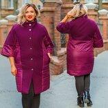 Женское стильное пальто на синтепоне в батальных размерах 1157 Кашемир Плащёвка Кнопки в расцветка