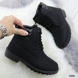 5888 ботинки демисезонные, ботинки чёрные, ботинки женские,