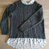 Новый теплый вязанный комбинированный свитер большого размера от Next