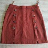 Новая плотная трикотажная теплая юбка мини терракотового цвета Next