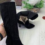 р.36-41 Шикарные замшевые и кожаные сапоги, каблук 9см, евро зима, К23