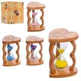Деревянная игрушка Песочные часы MD 1112 12см, 5минут, микс цветов, в кор-ке, 9,5-9,5-12,5см