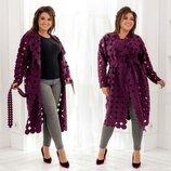 Стильный женский кардиган-пальто в больших размерах 801-1 Кашемир Перфо Горох в расцветках