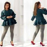 Женское стильное пальто-жакет в больших размерах 802 Неопрен Баска в расцветках