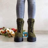 Женские ботинки из натуральной замши зеленого цвета, деми/зима