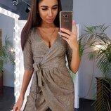 Блестящее платье хамелеон на запах из трикотажа с люрексом. Разные цвета