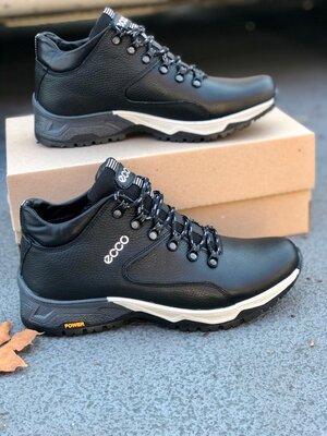 Мужские теплые кожаные зимние ботинки кроссовки ECCO