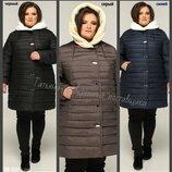54-64, Женский пуховик большого размера, Женская теплая куртка. Жіночий пуховик. зимова куртка, Пв