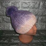 Красивая шапка для девочки с бубоном Омбре рр. 3-5 года