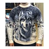 Мужской зимний шерстяной свитер с волком
