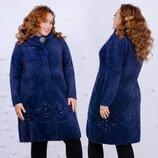 Женское тёплое пальто в больших размерах 038 Лама Брошь Цветы Стразы в расцветках