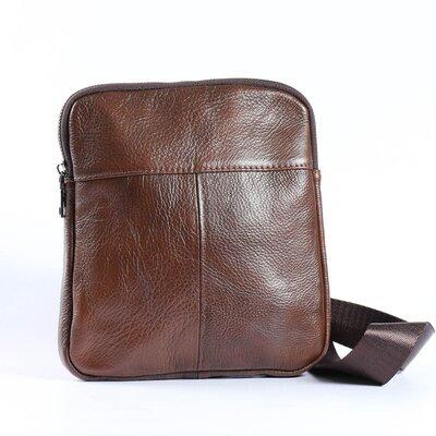 Вместительная мужская сумка из натуральной кожи, коричневая