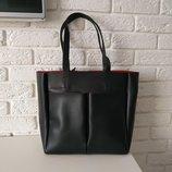 Вместительная сумка-шоппер, черная с красным