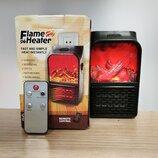 Портативный обогреватель c LCD дисплеем пультом Flame Heater 500W тепловентилятор с имитацией камина