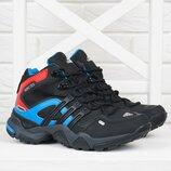 Термо кроссовки кожаные детские Adidas Gore Tex Terrex мембранные чёрные с синим и опанжевым