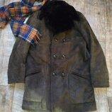Натуральная мужская классическая дублёнка Англия London коричнева-XL-50 размер