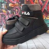 Стильные кожаные зимние ботинки, код 817