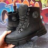 Стильные кожаные зимние ботинки, крейзи кожа, код 810