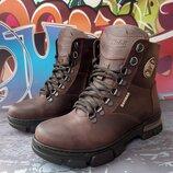 Стильные кожаные зимние ботинки, крейзи кожа, код 811