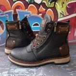 Стильные кожаные зимние ботинки, флотар кожа, код 812