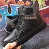 Стильные кожаные зимние ботинки, лицевая кожа, код 813