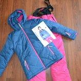 Лыжная куртка и полукомбинезон теплые штаны, лыжный костюм р.152