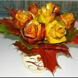 Осень листья Поделка из листьев Осенняя Букет