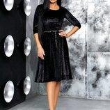 Вечернее стильное женское платье до больших размеров 934 Велюр Блёстки Хамелеон Клёш