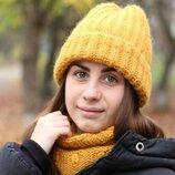 Вязаный зимний комплект шапка и снуд ручная работа