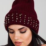 Женская шапка цвет марсала