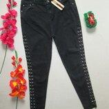 Крутые стильные стрейчевые джинсы скинни со шнуровкой сбоку высокая посадка Denim Co.