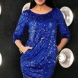 Бархатное платье расшито пайетками до 56 размера