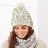 Теплая вязаная шапочка, женская шапка с помпоном TCM Tchibo, Германия