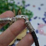 Серебряный шнурок нейлон Спаси и сохрани на шею унисекс 5мм 925 все размеры