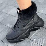Кроссовки женские зимние кожаные черные на толстой подошве, на платформе