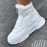 Кроссовки женские зимние белые на толстой подошве, на платформе