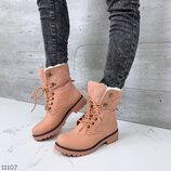 Самая низкая цена Женские зимние розовые синие коричневые чёрные ботинки на шнуровке на низком ходу