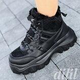 Кроссовки женские зимние черные на толстой подошве, на платформе