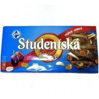 Studentska Horka-Horka горький шоколад с арахисом и изюмом, 180 гр.