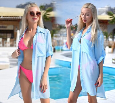 Стильная женская короткая пляжная туника 9290-8 Шифон Рубашка в расцветках