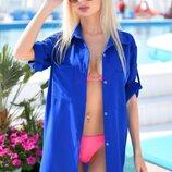 Стильная женская короткая пляжная туника 9290-7 Креп-Шифон Рубашка в расцветках