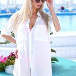 Стильная женская короткая пляжная туника 9290-6 Штапель Рубашка