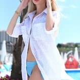 Стильная женская короткая пляжная туника 9290-2 Коттон Абстракция Рубашка
