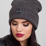 Женская шапка цвет серый