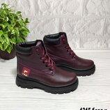 Бордовые кожаные зимние ботинки на шнурке
